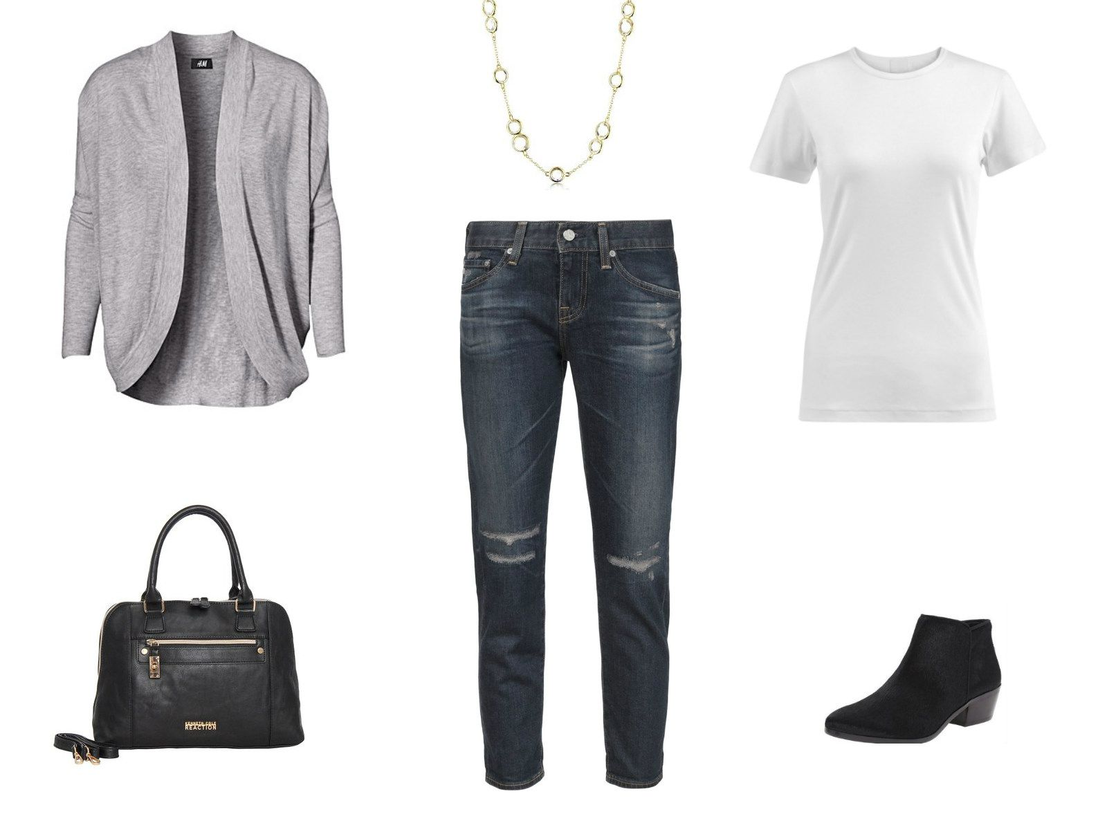 Outfit idea - cropped jeans and cardigan sweater