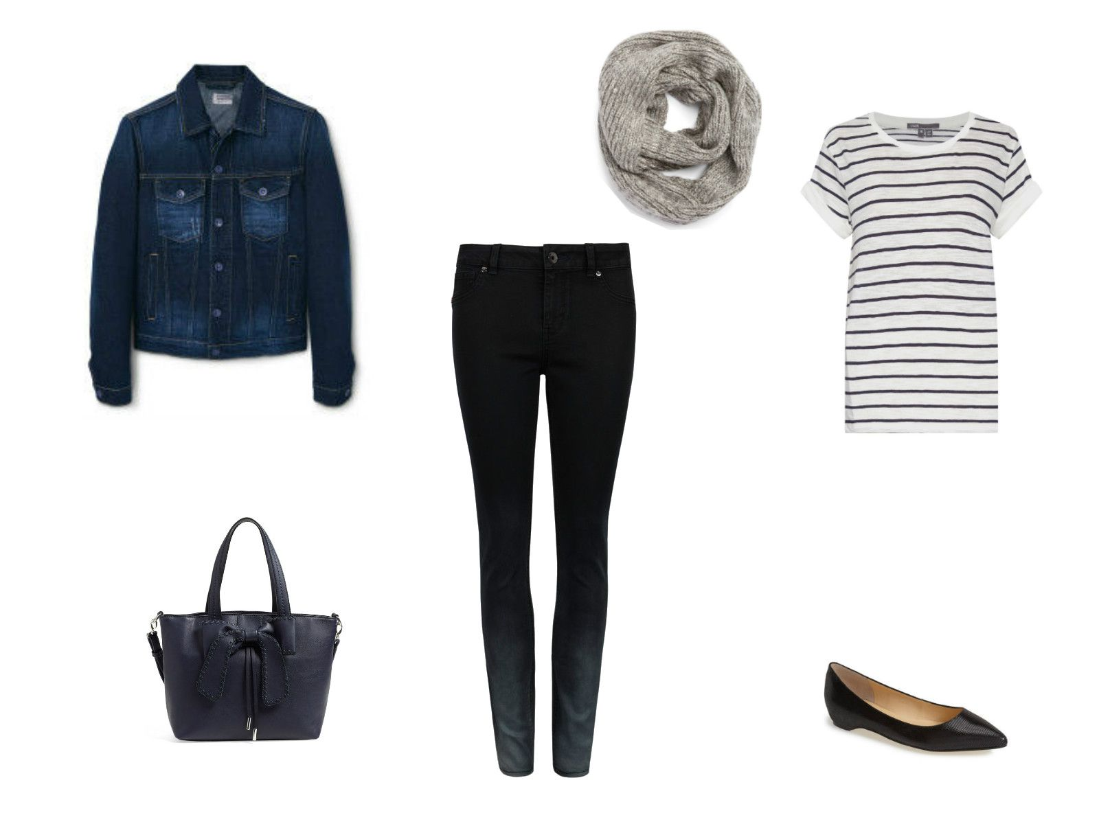 06fd6b33b90 Jean jacket and jeans outfit with striped shirt