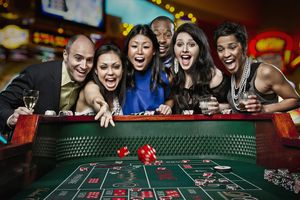 Friends at a Craps table