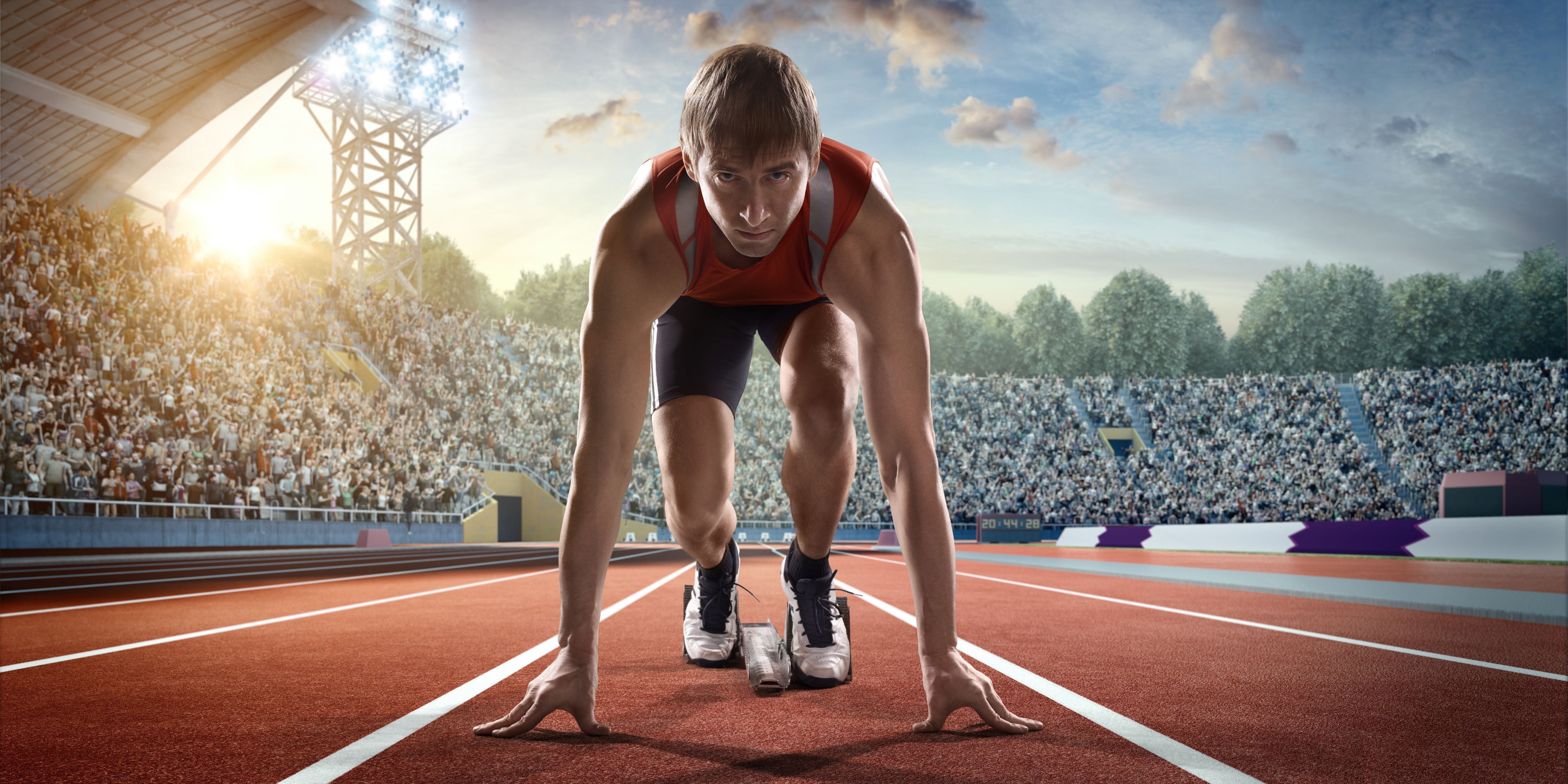 A man with a strong start to a race, just like your essay should have a strong start.