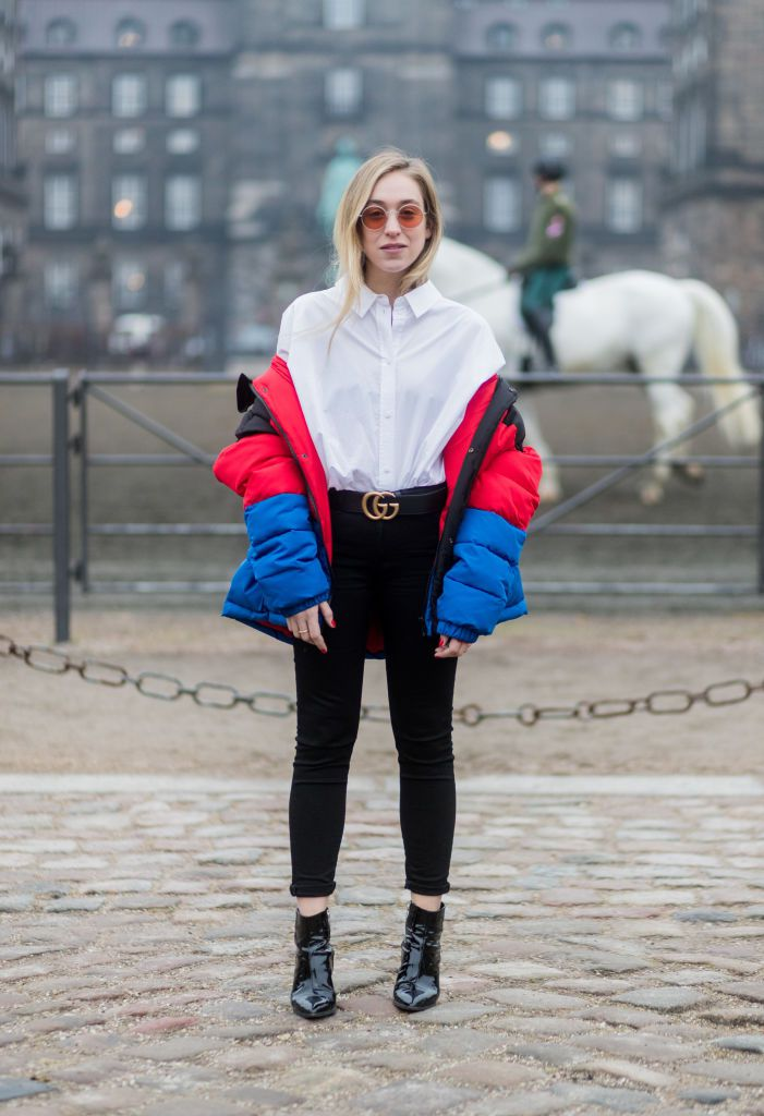 Street style in white coat and puffer jacket