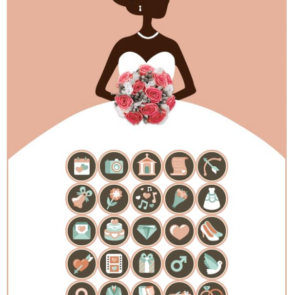 A bride wearing a dress on the background of a bridal shower bingo card