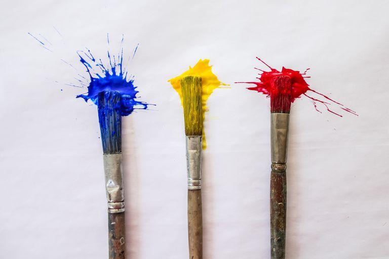Directly Above Shot Of Brushes Splashing Various Paints On White Paper