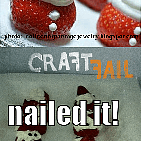 Comparison of a strawberry Santa snack and a poor attempt at a recreation
