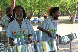 Caribbean steel pan band