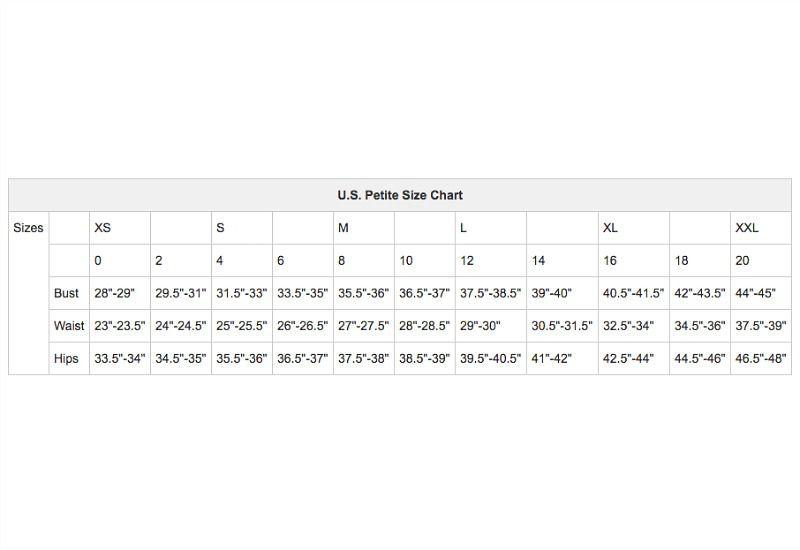 U.S. Petites Apparel Size Chart