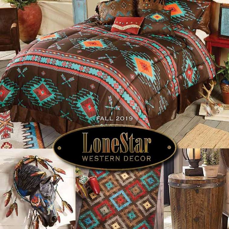 The cover of the Fall 2019 LoneStar Western Decor catalog featuring a bed, rug, and table