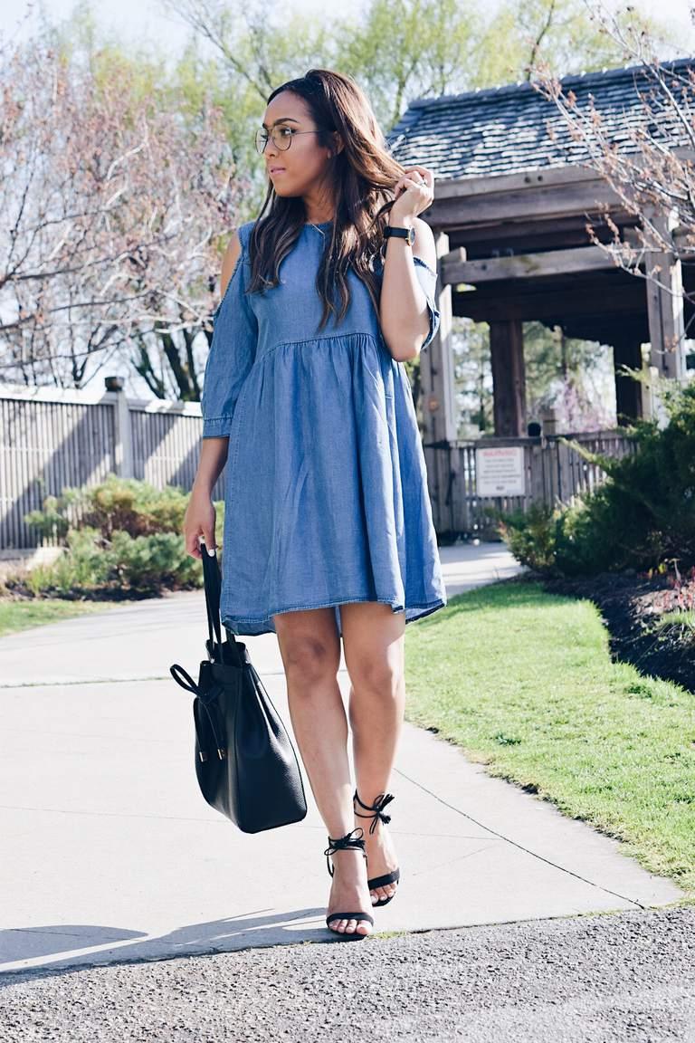 Woman in Denim Dress