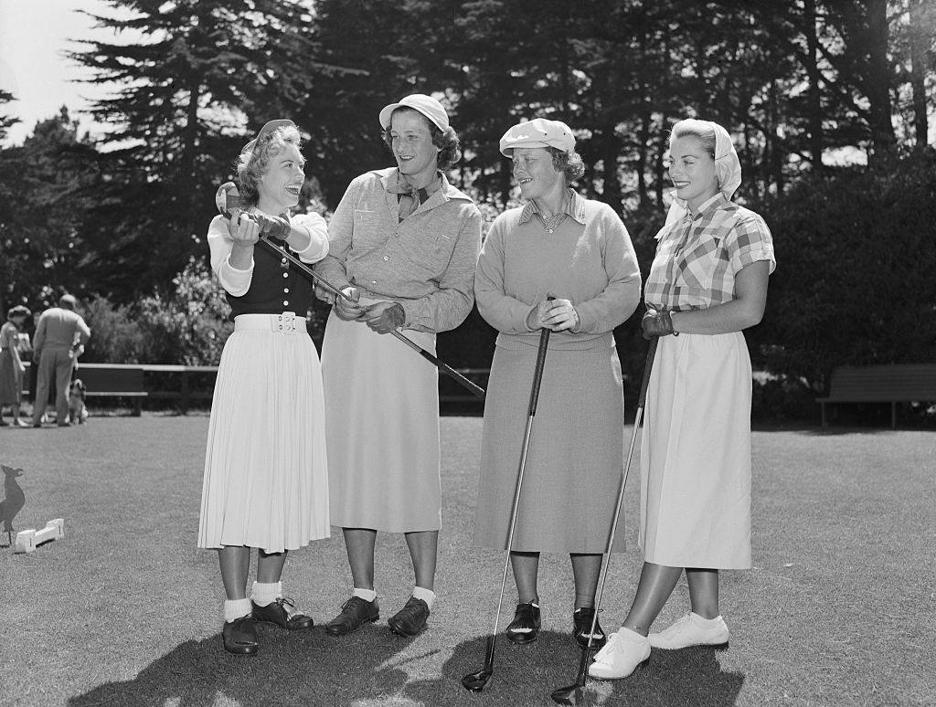 Four Foremost Women Golfers Standing with Golf Club