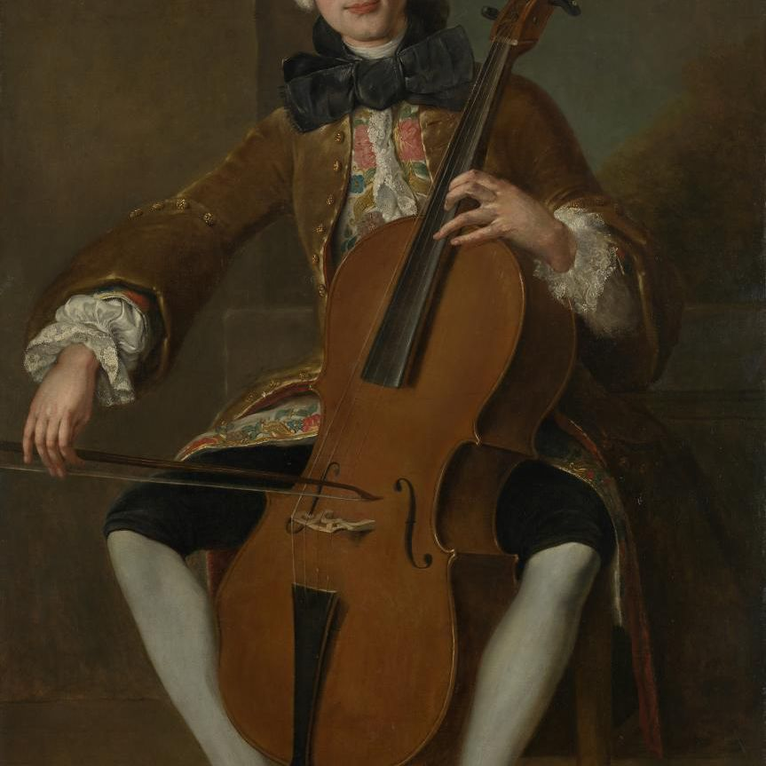 Luigi Boccherini playing the violoncello