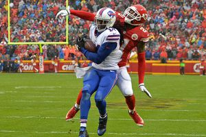 Wide receiver Sammy Watkins #14 of the Buffalo Bills catches a touchdown pass against defensive back Sean Smith #21 of the Kansas City Chiefs during the first half on November 29, 2015 at Arrowhead Stadium