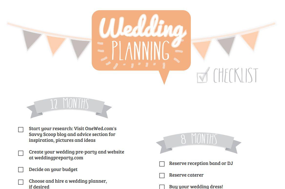 An orange and gray wedding checklist.