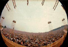 Woodstock Crowd through fish eye lens