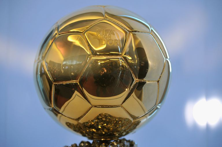 The Ballon d'Or trophy a golden soccer ball