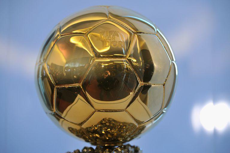 The Ballon d'Or trophy a golden soccer ball