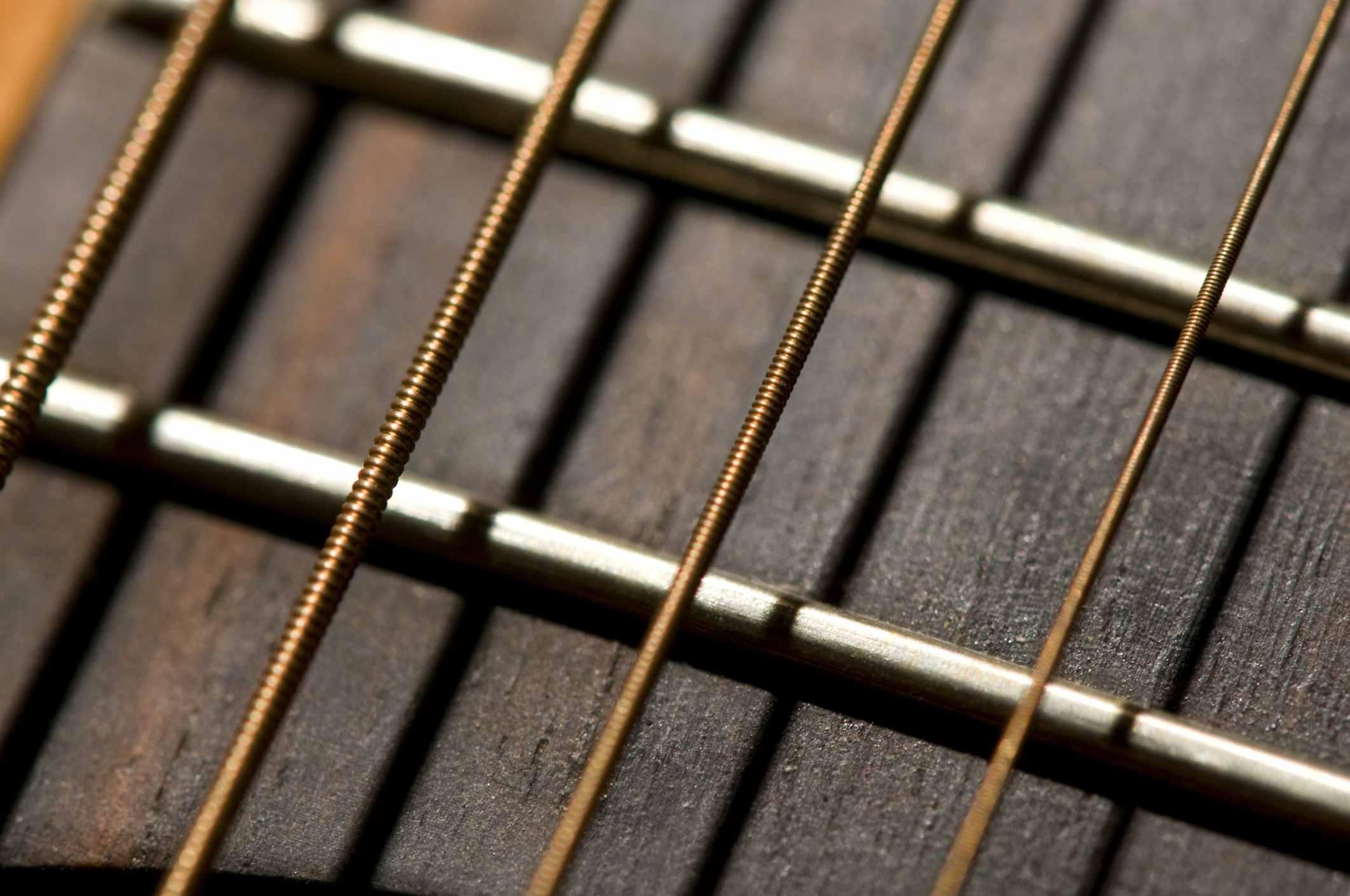guitar strings close up