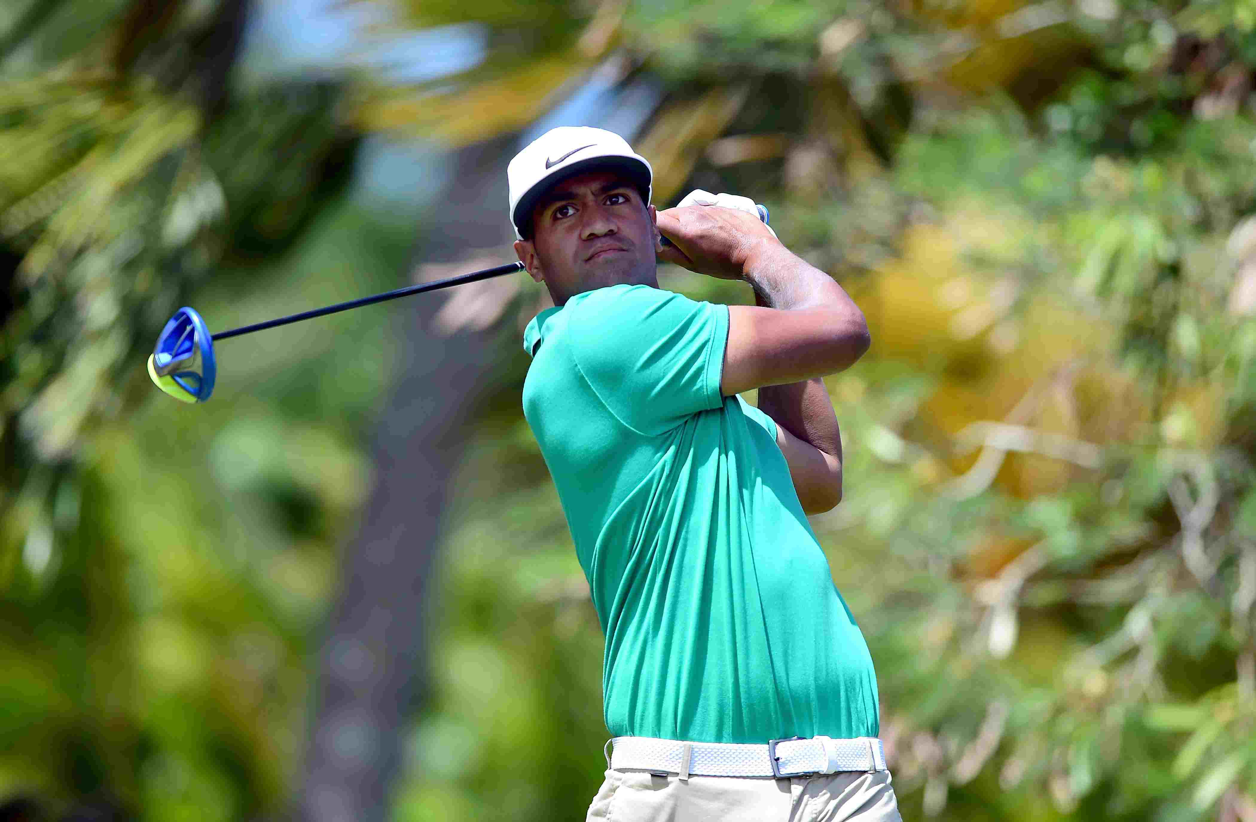 Golfer Tony Finau hits a driving during his victory at the 2016 Puerto Rico Open