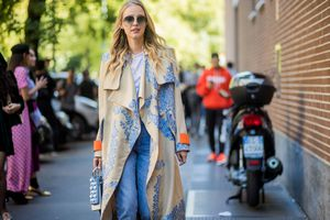 Street style in jeans and spring coat