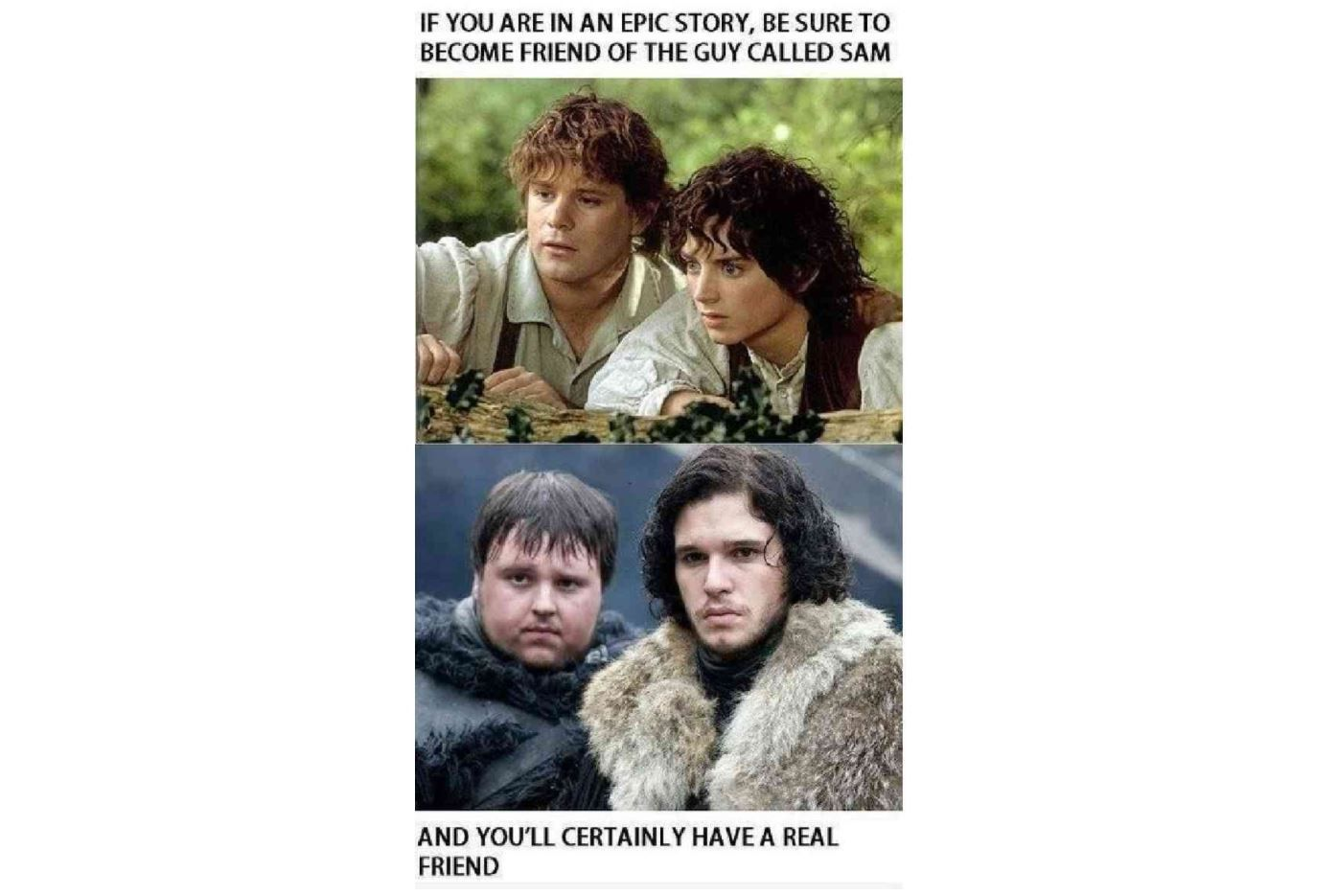 Sam game of thrones and lord of the rings meme