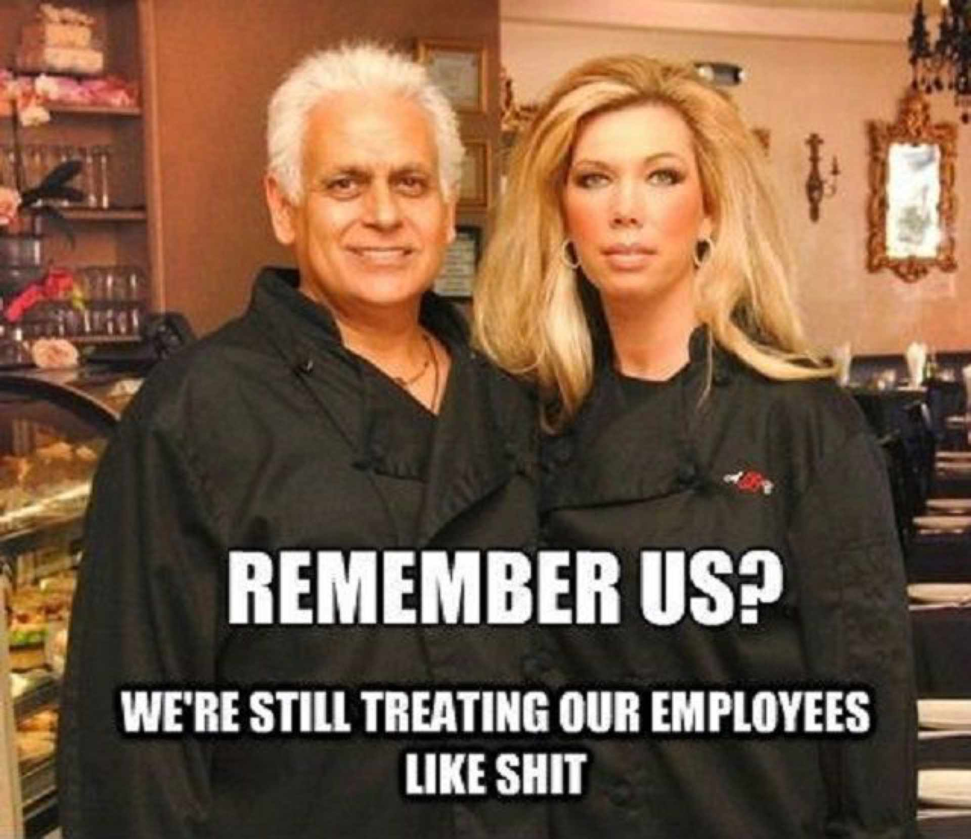 Meme of two people in a bakery.