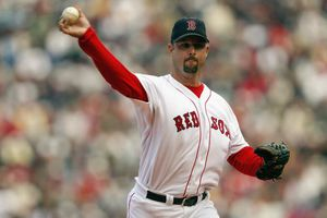 Tim Wakefield of the Boston Red Sox throws a knuckleball