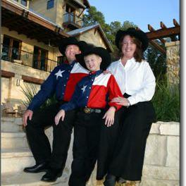 Cruz Family on the steps of the 2005 HGTV Dream Home.