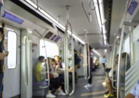 Blurry image of a passenger Subway train