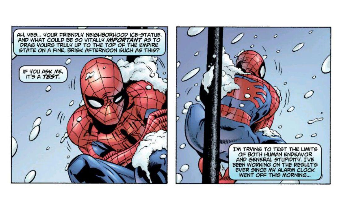 peter parker spider man snow day