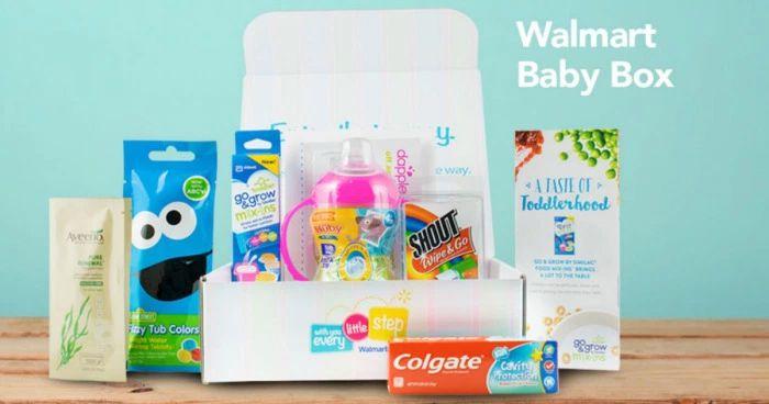 A Walmart baby box full of free samples