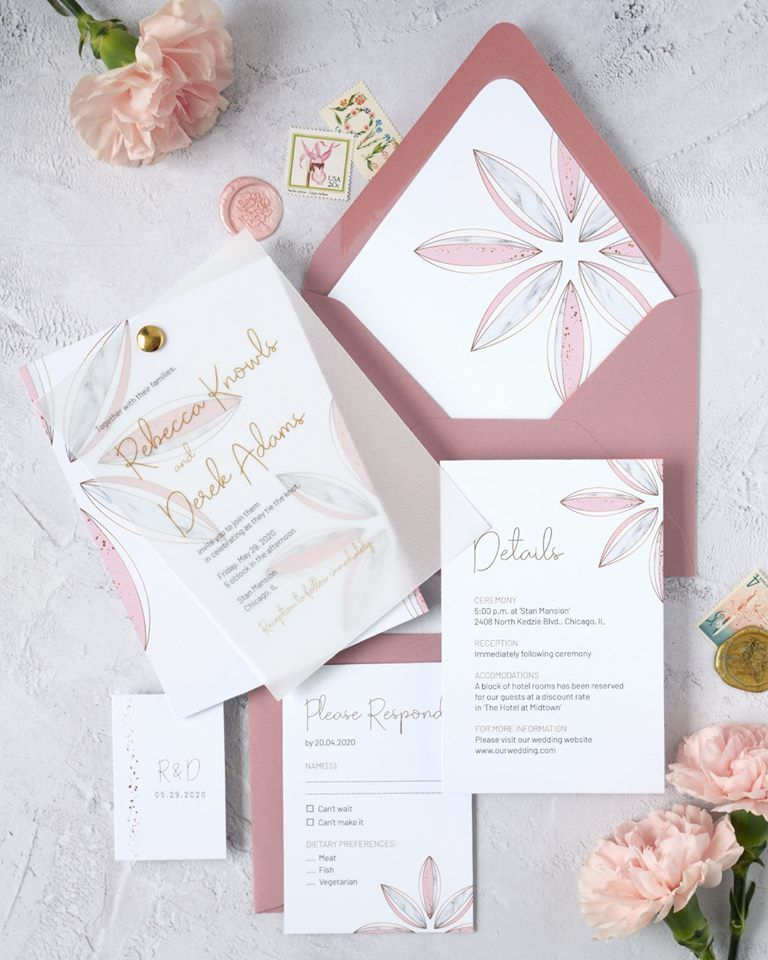 A pink and gold wedding invitation template suite