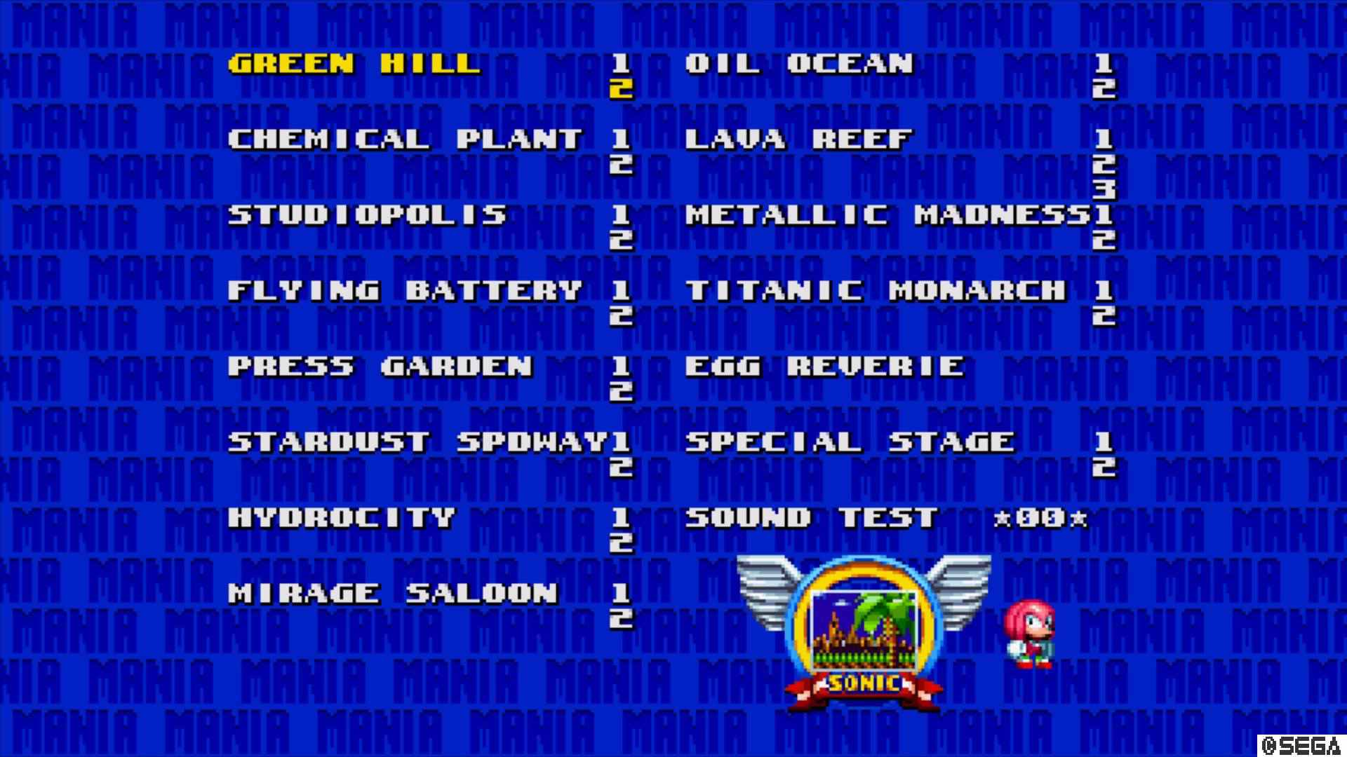 The level select screen in Sonic Mania.