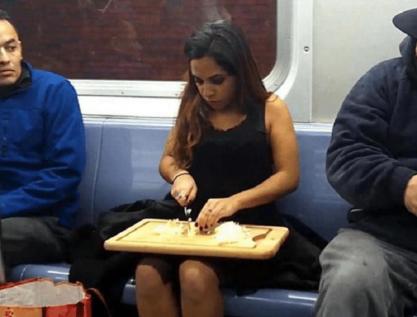 chopping onions on subway