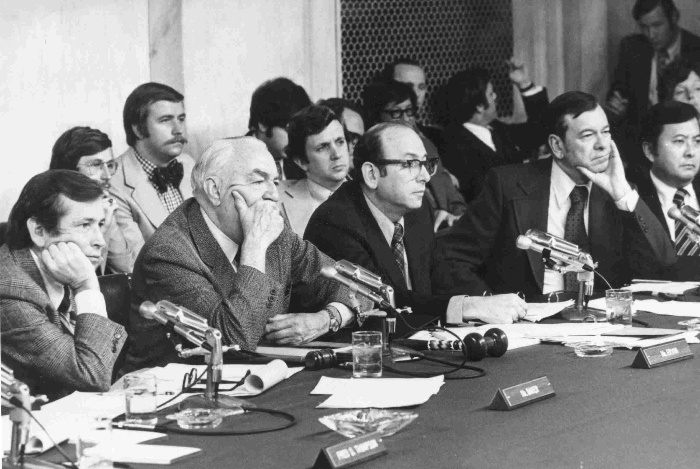 Photograph of 1973 Senate Watergate committee hearing.