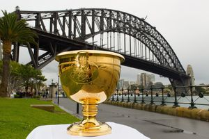 The Presidents Cup Trophy with the Sydney Harbour Bridge as the backdrop