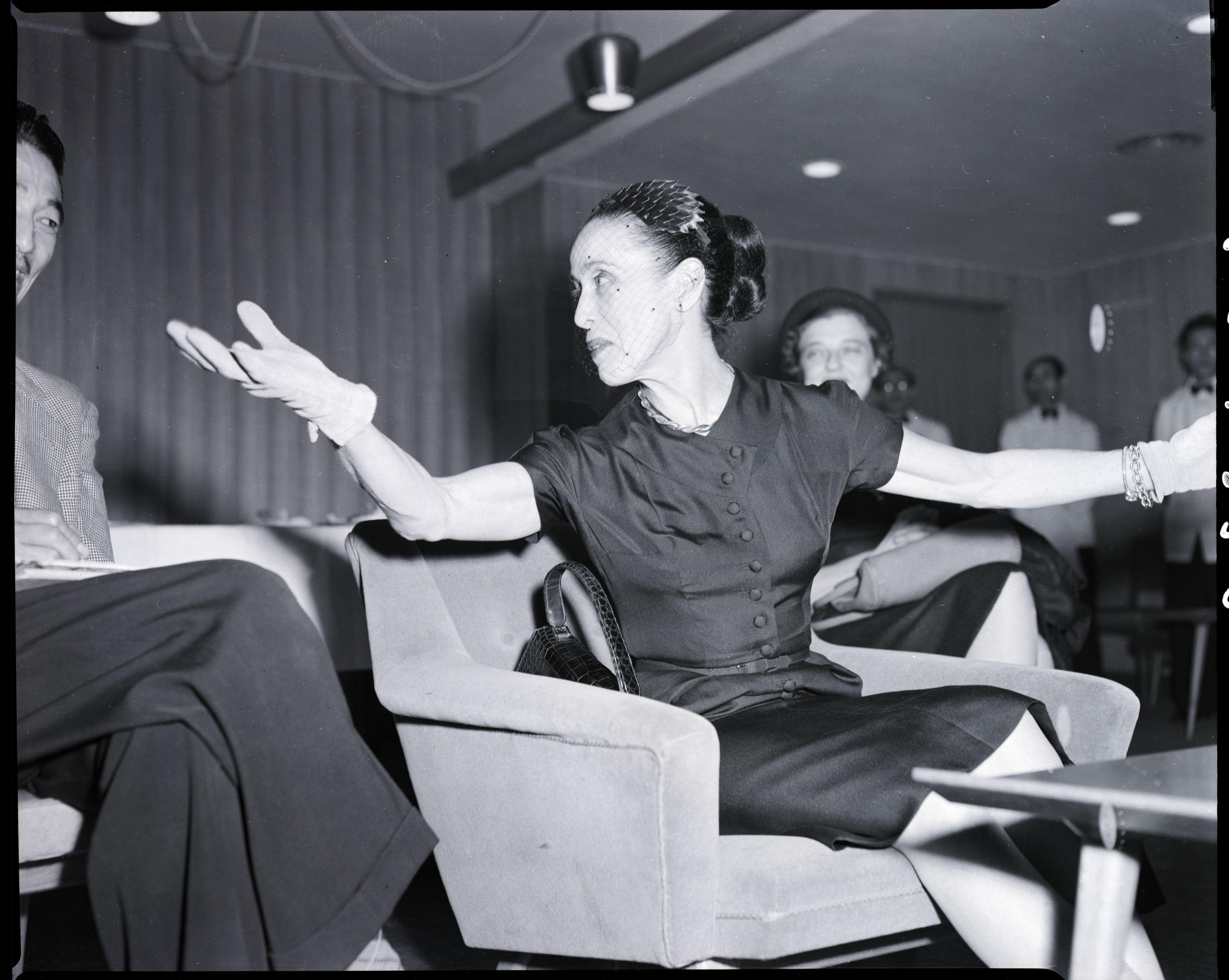 Martha Graham Gestures at Press Conference