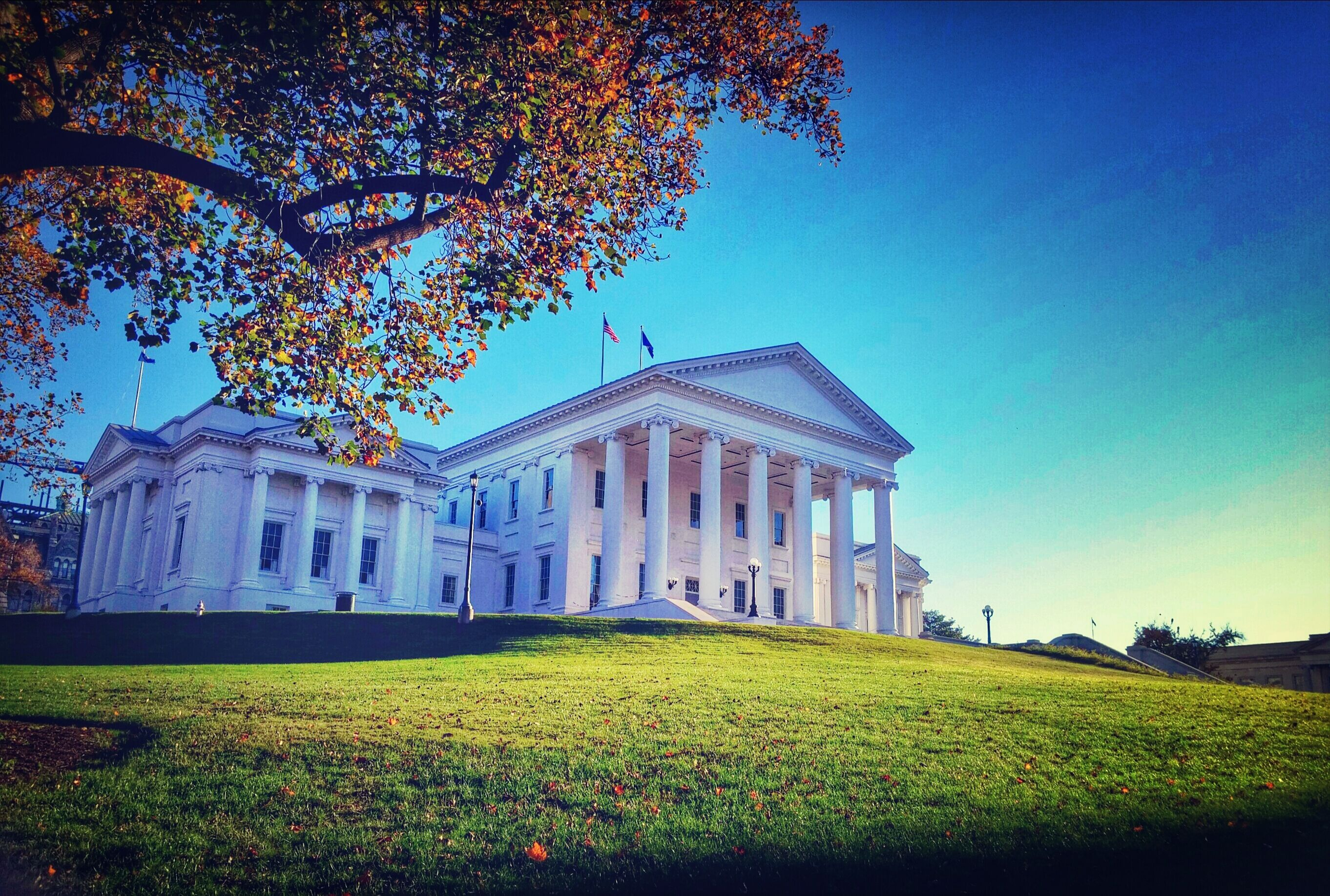 Virginia State Capitol Building On Field Against Blue Sky
