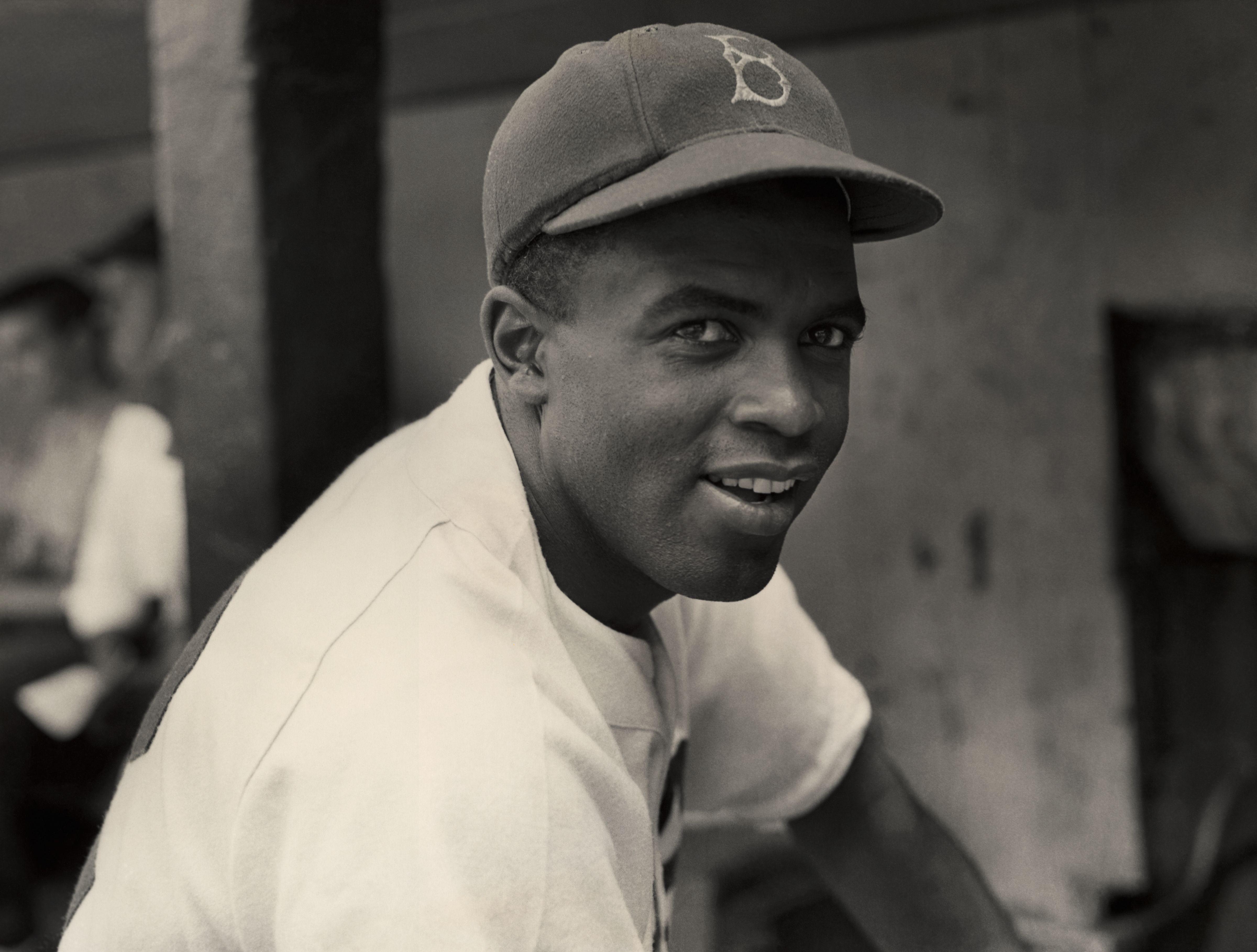 circa 1945: A portrait of the Brooklyn Dodgers' infielder Jackie Robinson in uniform.