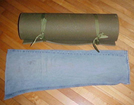 Yoga mat and jean leg