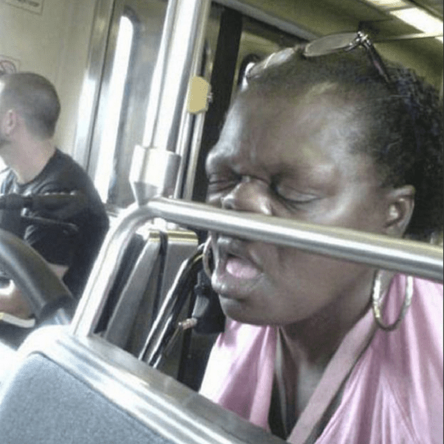 snooze nose on subway