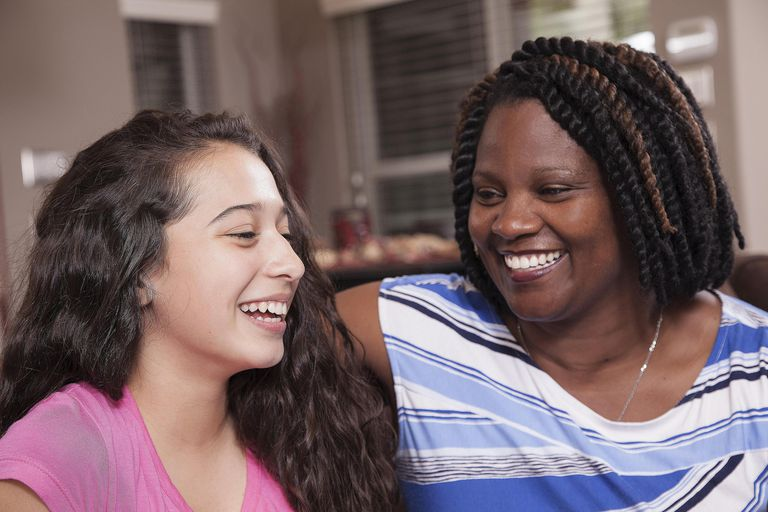 Multi-ethnic family. Teenage girl and mom at home.