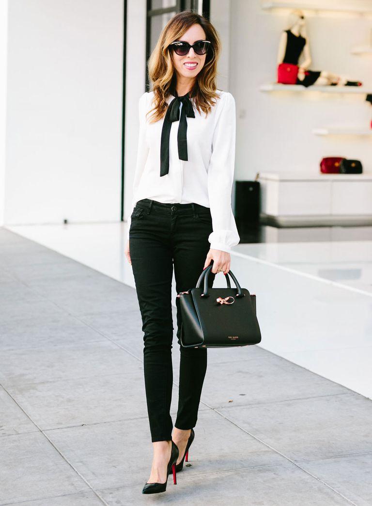 e3a092ed79a Black jeans and bow blouse fashion photo. Sydne Style