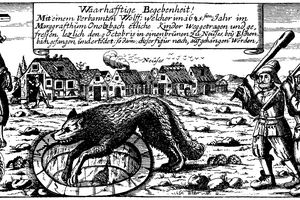 An old illustration showing the belief in and fear of werewolves