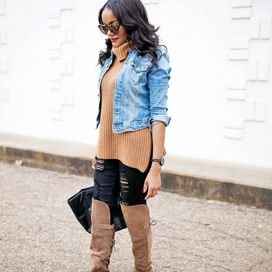 1c5f678e1f65 Add Layers to Ripped Jeans. Woman wearing jeans and sweater and boots ...