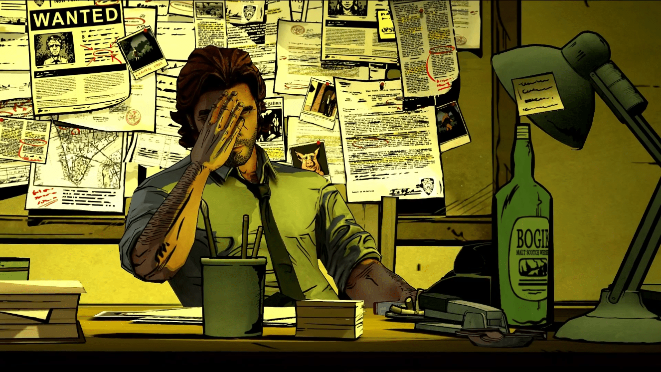 Bigby Wolf with his face in his hand from A Wolf Among Us