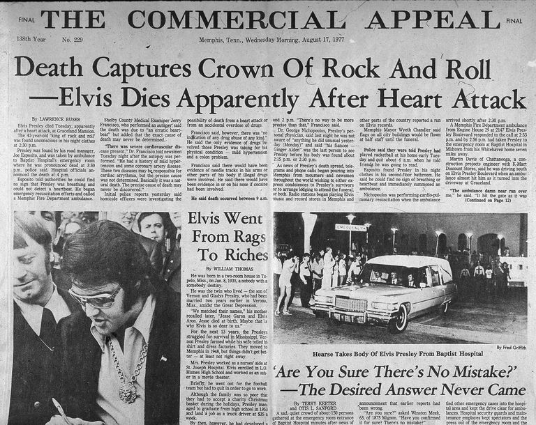 Newspaper headline reports Elvis Presley's death