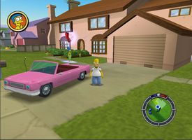 Homer stands by his car in The Simpsons Hit and Run.