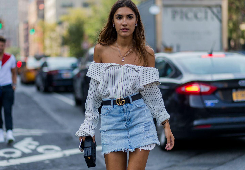 Street style photo in denim skirt
