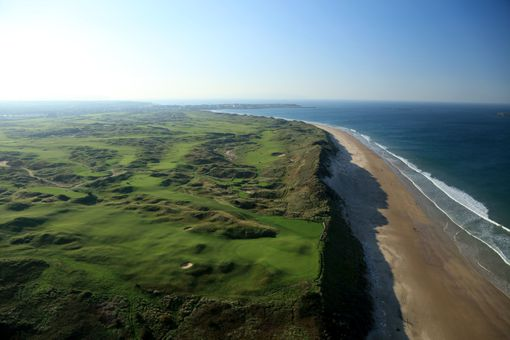 An aerial view of the Dunluce Links of Royal Portrush Golf Club in Northern Ireland.
