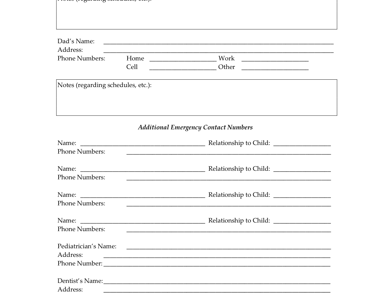 Child S Emergency Contact Form Single Parent Families