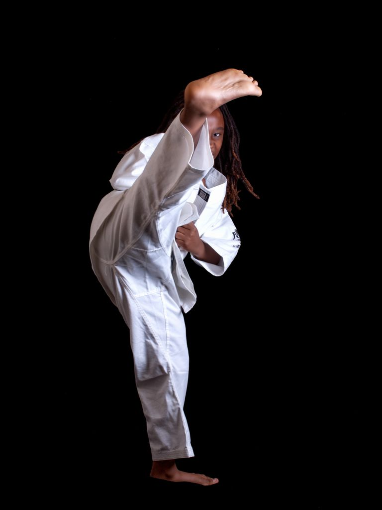 Girl practicing martial arts